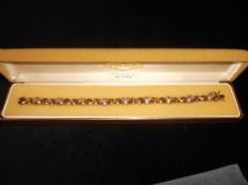 LADIES ELEGANT GOLD PLATED 925 SILVER BRACELET WITH SPARKLE STONES IN CLEWCO BOX